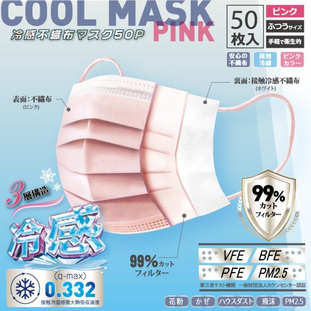 冷感 使い捨て ピンク マスク 不織布 50枚 接触冷...