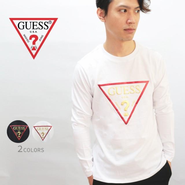 GUESS ゲス Tshirt ゴールドロゴロングTシャツ ロ...