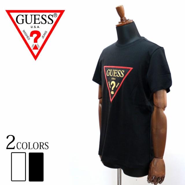 GUESS ゲス TRIANGL GOLD LOGO  半袖 Tシャツ ロ...
