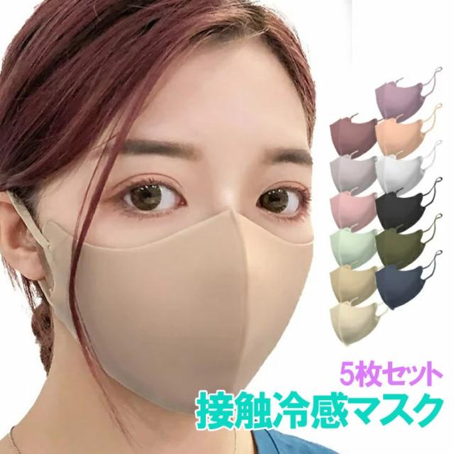 洗える 冷感 マスク 5枚 小さめ 接触冷感マスク ...