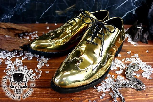 ゴールド ドレスシューズ 厚底 金 靴 メンズ シュ...