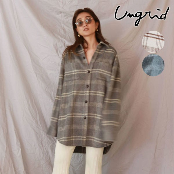 アングリッド ungrid 通販 シャギーチェックルーズシャツ レディース トップス シャツ 長袖 起毛 シャギー ビッグサイズ オーバーサイズ