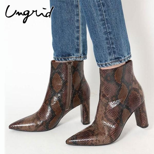 【SALE60%OFF】アングリッド ungrid 通販 ポインテッドアニマルブーツ レディース シューズ 靴 ブーツ ポインテッドトゥ ショートブーツ