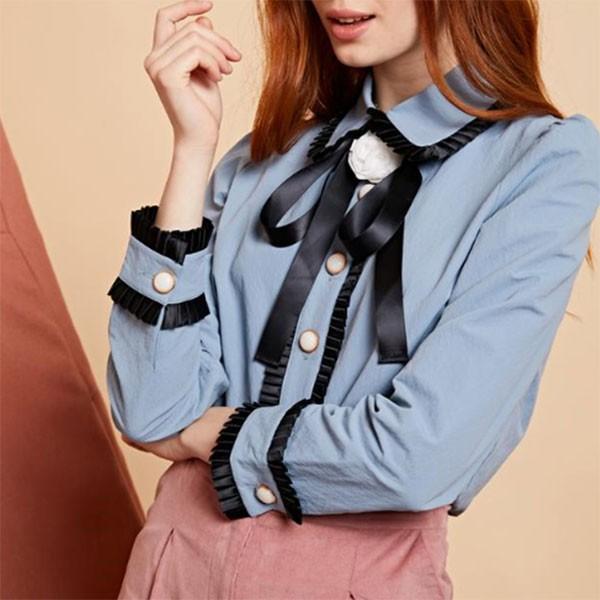 【SALE50%OFF】シスタージェーン SISTER JANE 通販 Rosa Bow Shirt ローザボウシャツ レディース トップス シャツ ブラウス 襟 長袖 ブル