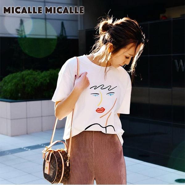 【クーポン対象】Micalle Micalle ミカーレミカーレ ROIL レディース トップス Tシャツ 半袖 半袖T クルーネック イラスト デザイン ホワ