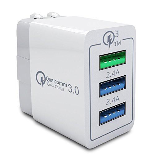 30 W 3口 USB QC 3.0 USB充電器 急速充電器 Huawe...