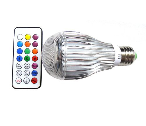 リモコン付 16色変化するLED RGB 9W電球E26