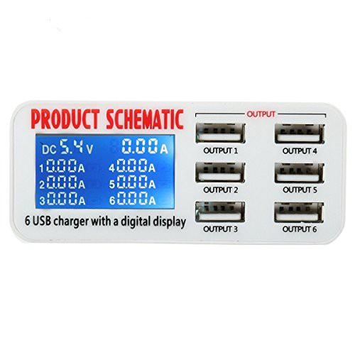 M.Way 6ポート USB充電器 ACアダプタ 30W 6A 液晶...