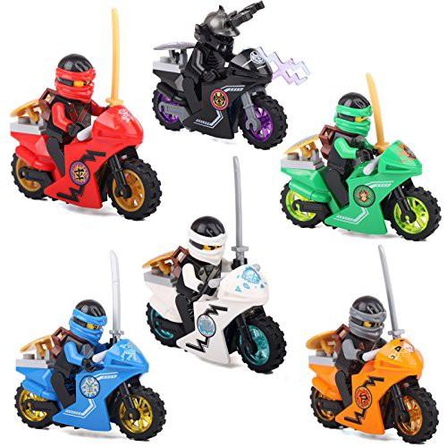 忍者 ゴー ミニフィグ ブロック 6体 + バイク ...