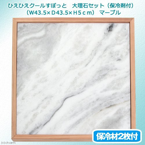 ひえひえクールすぽっと 大理石セット(保冷剤付)(W43.5×D43.5×H5.0cm)アルミプレート タイル ひんやり 沖縄別