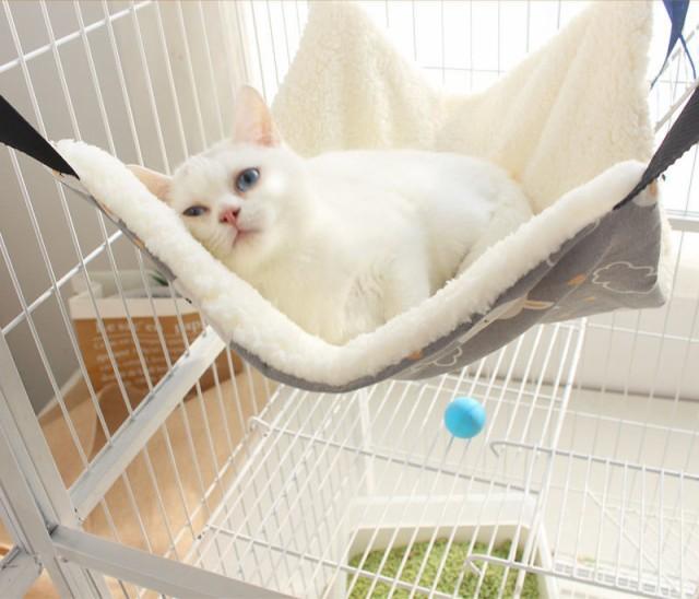 簡単に取り付けできる ハンモック 猫用 ゲージ用 ...