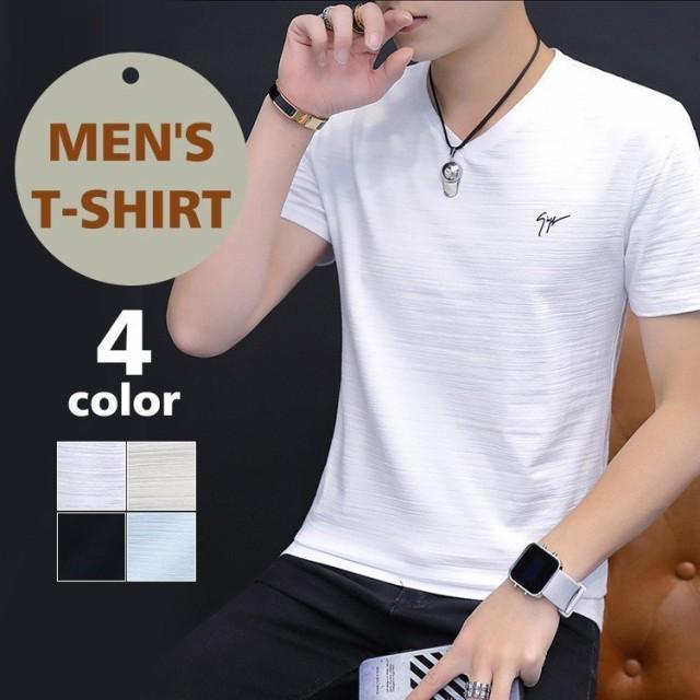 Tシャツ メンズ 半袖 夏 ロンT 無地 Vネック ロン...