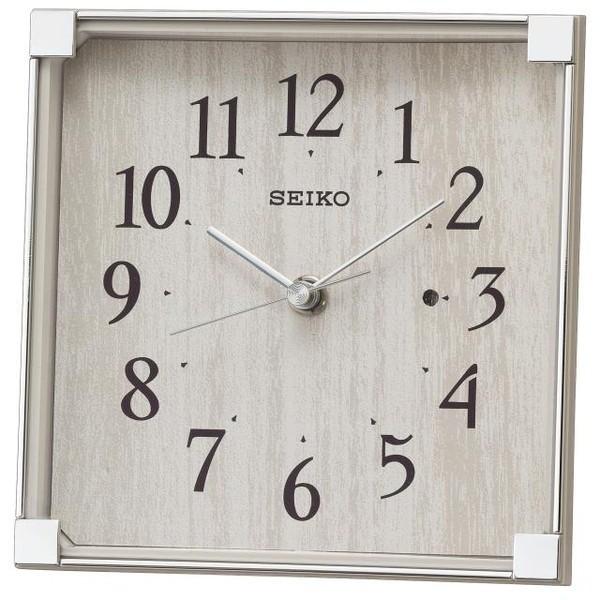 SEIKO セイコー 置き時計 電波 アナログ 薄グレー...
