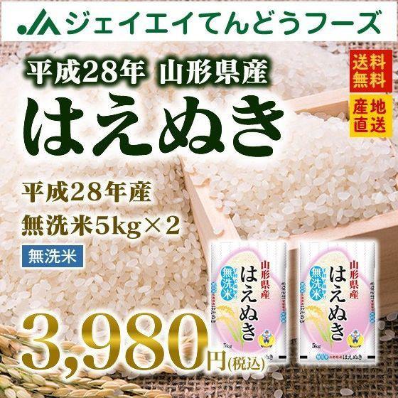 【28年産米】 山形県産 はえぬき 無洗米 10kg(5k...