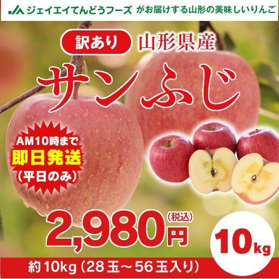 【訳あり】 山形県産 『サンふじ』 りんご 約10kg...