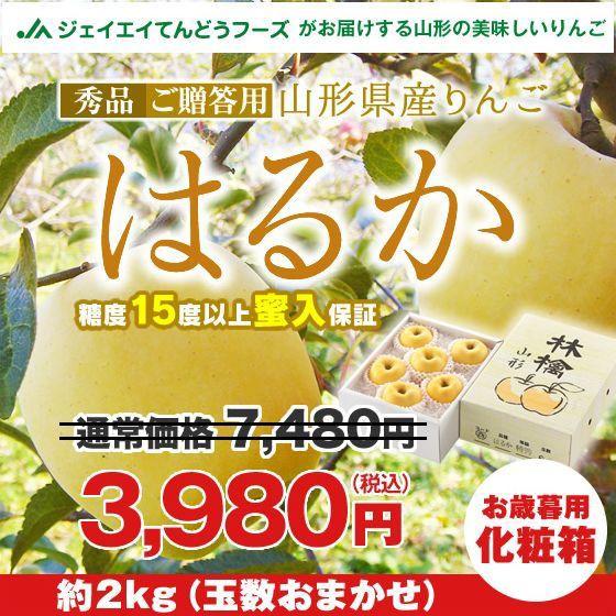 りんご 化粧箱入り 『はるか』 約2kg 【蜜入保証...