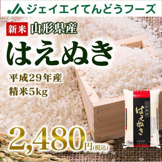 新米 早割 山形県産 はえぬき 精米 5kg 平成29年...