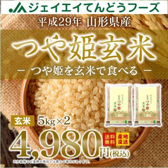 玄米 山形県産 つや姫 10kg(5kg×2袋) 平成29年...