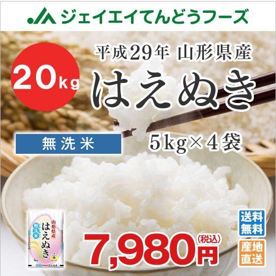 米 お米 無洗米 山形県産 はえぬき 20kg(5kg×4...