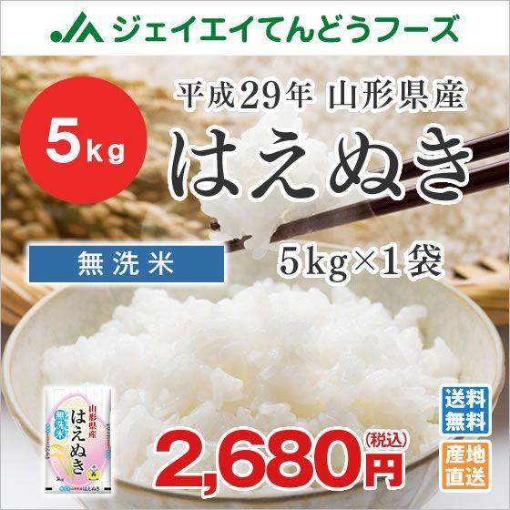 米 お米 山形県産 はえぬき 無洗米 5kg 平成29年...
