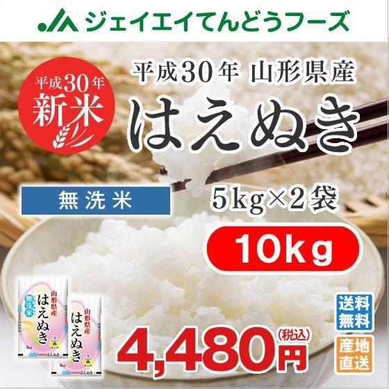 米 お米 山形県産 はえぬき 無洗米 10kg(5kg×2...