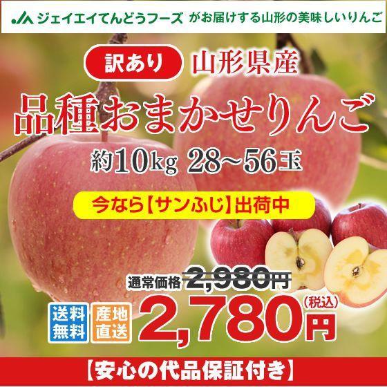 【訳あり】山形県産 『サンふじ』 りんご 約10k...