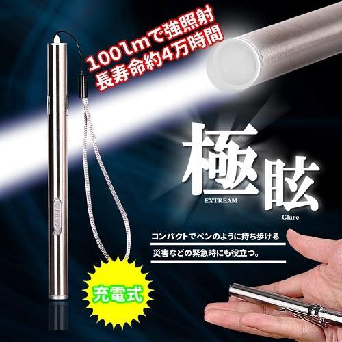 USB充電式 小型 LEDペンライト 懐中電灯 アウトド...