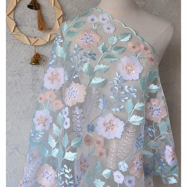 白い手作り 刺繍生地 可愛い ハンドメイド 綿 ポ...