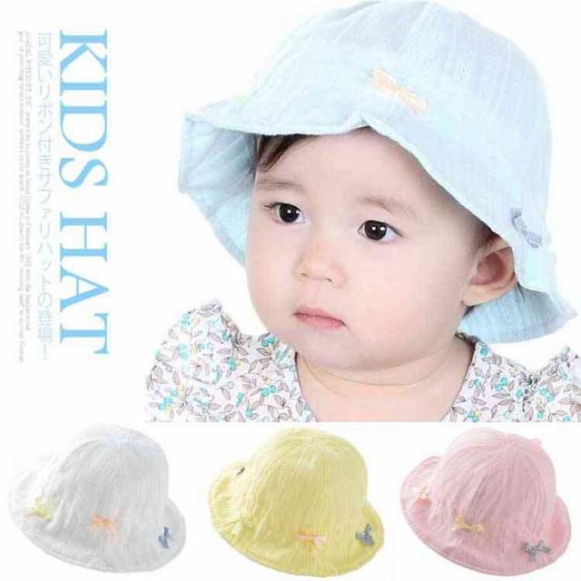 送料無料リボン付き ハット UVカット サファリハット キッズ 女の子 赤ちゃん ベビー ハット UVカット帽子 キッズ 帽子 子供 帽子 キャン