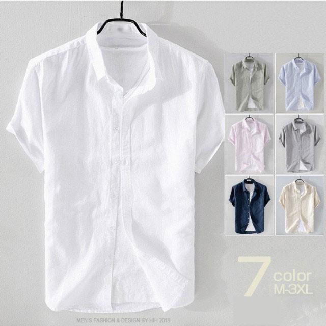 リネンシャツ メンズ 半袖 シャツ 無地 シンプル ...