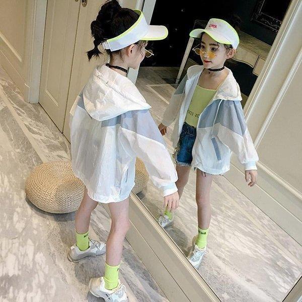 UVカット パーカー キッズ ファスナー 子供服 女の子 夏 長袖 紫外線対策 日焼け防止 薄手 ジップアップ ラッシュガード 羽織り 虫よけ