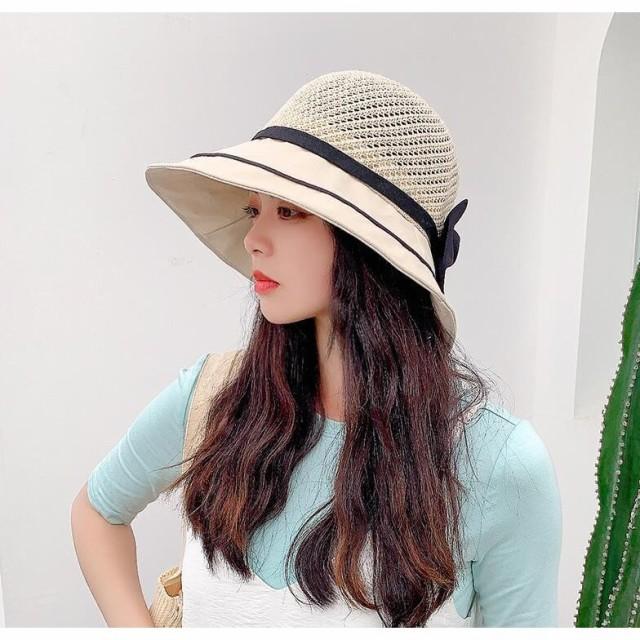日よけ帽子 麦わら 帽子 レディース リボン UV UV...