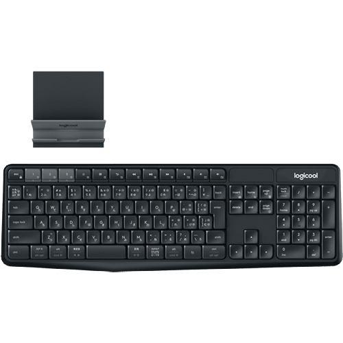 キーボード ロジクール 無線 ワイヤレス K375S マルチデバイス ワイヤレスキーボード&スタンド ブラック / ダークグレー