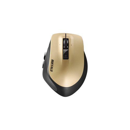 バッファロー BSMLW500MGD Premium Fitマウス 無線/レーザー式/静音/5ボタン/横スクロール/Mサイズ/ゴールド
