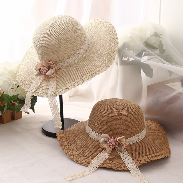 草編み帽子 子供用 サンバイザー 麦わら帽子 ビー...