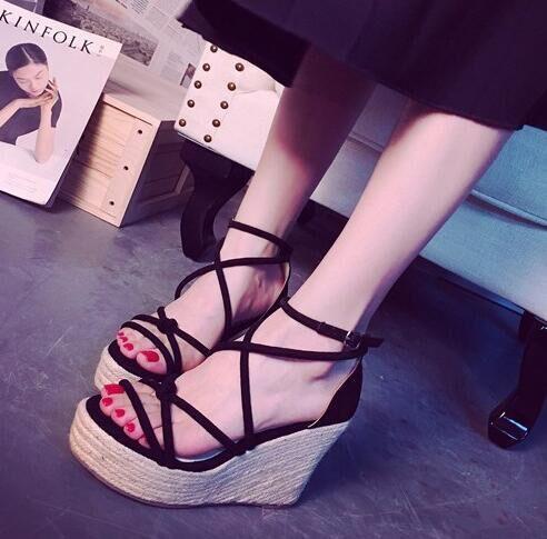 【即納】ジュート巻き 厚底 サンダル 靴 全2...