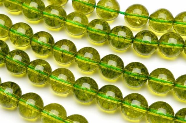ペリドット風クラック水晶 10mm 1連(約38cm...