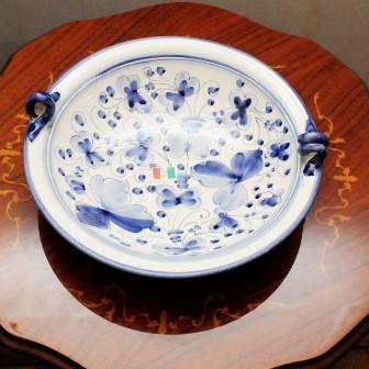 【イタリア製】 陶器 絵皿 ハンドペイント 青...