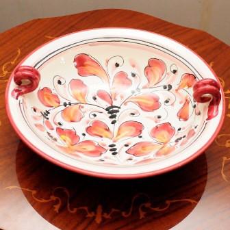 【イタリア製】 陶器 絵皿 ハンドペイント 赤...