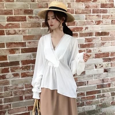 韓国風 女性服 白 襟 ルース 長袖 シフォン...