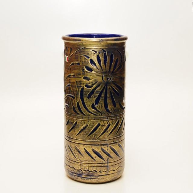 【イタリア製】 陶器かさ立て ブロンズ/ブルー ...