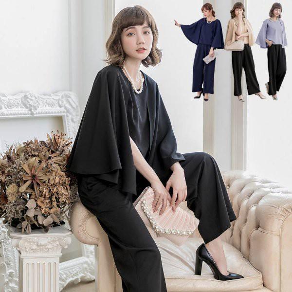パンツドレス 予約 ガウチョパンツスーツ 七分袖 ...
