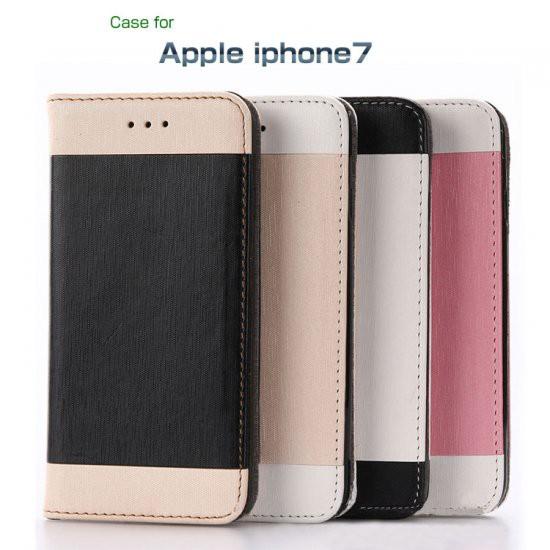 iPhone7 ケース 手帳型 キャンパス柄 ツートン か...