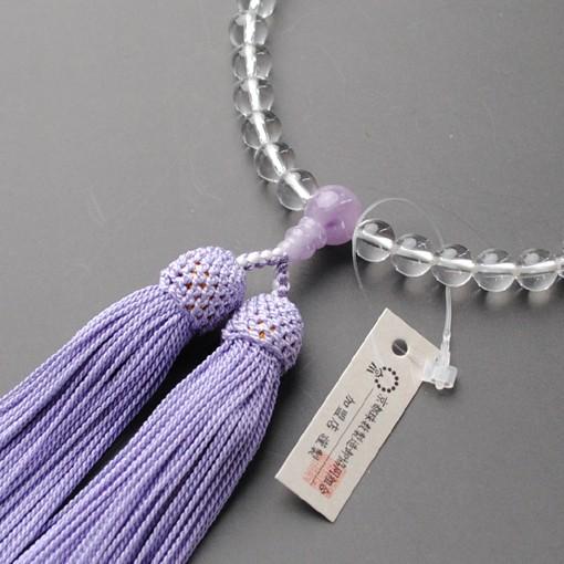 京都数珠製造卸組合・女性用数珠・本水晶藤雲石・...