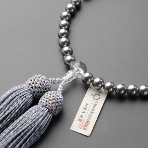 京都数珠製造卸組合・女性用数珠・黒貝パール・正...