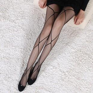 【即納】クロスライン柄 美脚細く見えるストッキ...