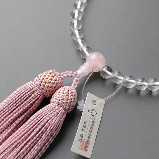京都数珠製造卸組合・女性用数珠・本水晶ローズク...