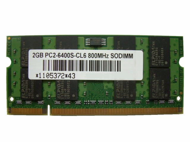 SODIMM 2GB PC2-6400 DDR2 800 200pin CL6 PCメモ...