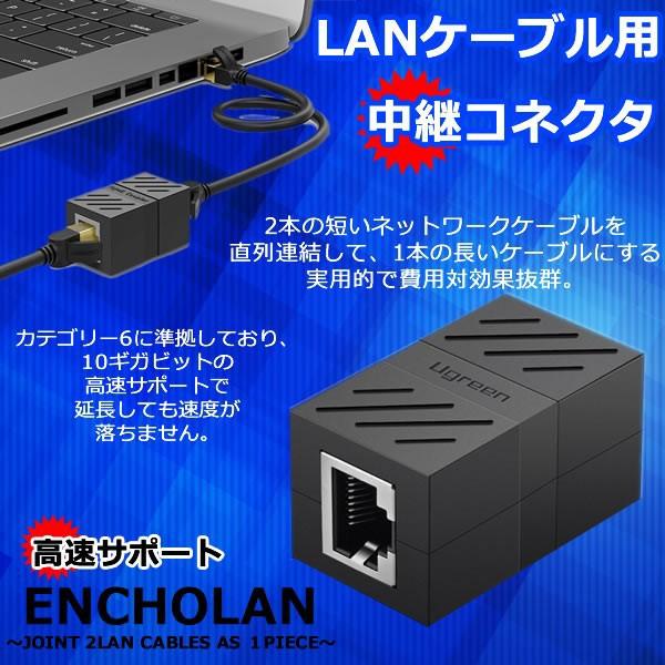 RJ45 LANケーブル用中継コネクタ コンパクト ギガ...