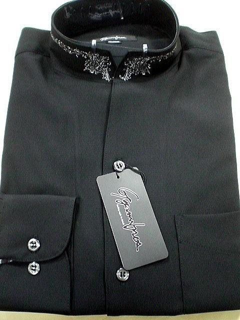 日本製 ドレスシャツ スタンドカラー 衿刺繍